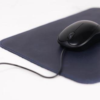 Кожаный коврик для мышки Винтажная кожа цвет Синий