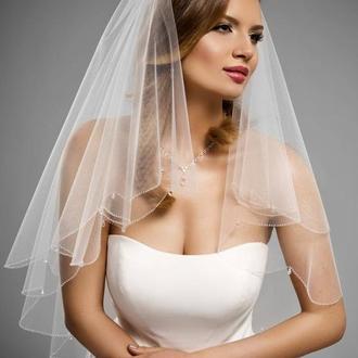 Свадебная фата с хрустальными подвесками.