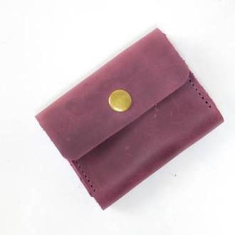 Визитница Винтажная кожа цвет Бордо
