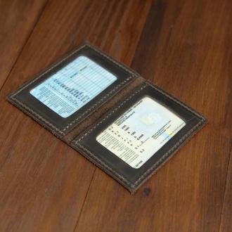 Обложка на две карты Винтажная кожа цвет Шоколад