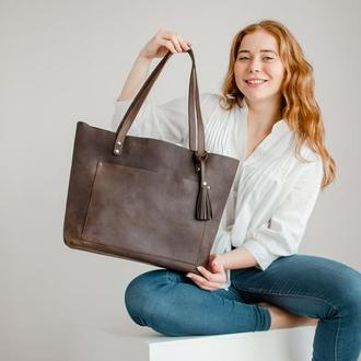 Женская кожаная сумка шоппер, tote