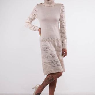 Белое вязаное мини платье-свитер