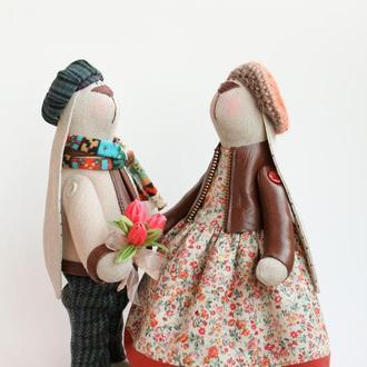 "Пара зайчиков ""Весна, весна, пора любви"""