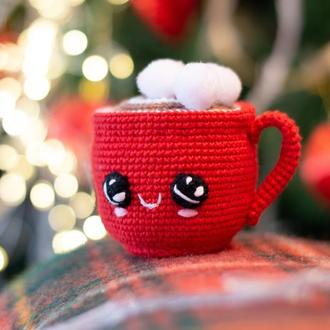Красная чашечка какао с маршмелоу , вязаная игрушка крючком ,амигуруми