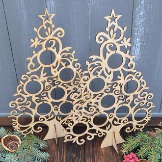 Новогодний декор, настольная ёлка, ёлочка для дома, офиса, ажурная ёлка, деревянная елка