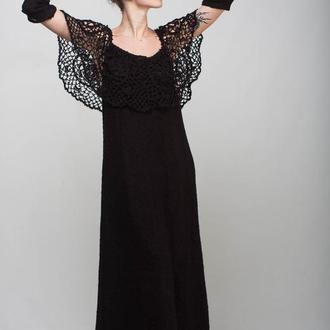 Черное вязаное мохеровое макси платье с воротом ручной работы и съемными рукавами