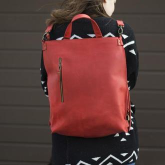 Кожаный рюкзак-трансформер красный
