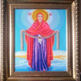 """Картина вышитая крестиком """"Покров Пресвятой Богородицы"""""""