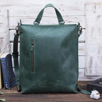 Шкіряний зелений рюкзак-трансформер
