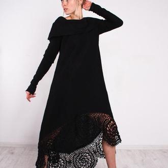 Черное вязаное коктейльное ажурное макси платье