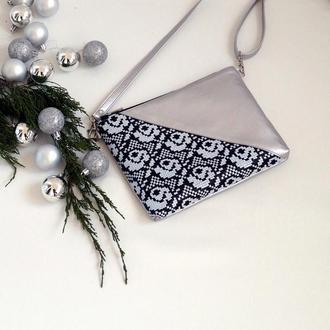 Серебристый клатч с вышивкой розы, Эко кожа, Маленькая сумка через плечо