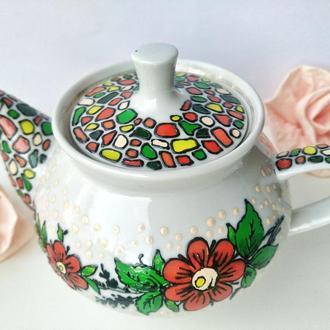 Керамический чайник в украинском стиле 280 мл