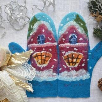 Варежки валяные зимние теплые синие Зимний дворик