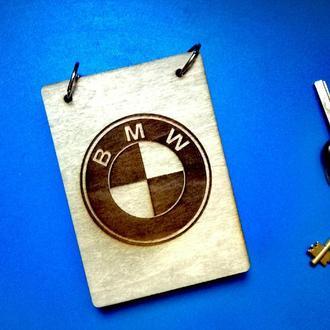 Блокнот из дерева А6 БМВ, BMW (на кольцах), подарок владельцу, автолюбителю, водителю