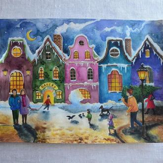 Акварельная картина ′Зима в старом городе′.