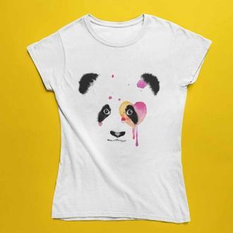 Футболка с принтом Мордочка панды с розовыми пятнами