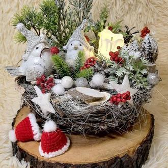 Новогодний рождественский подсвечник декор венок зимняя новогодняя  композиция
