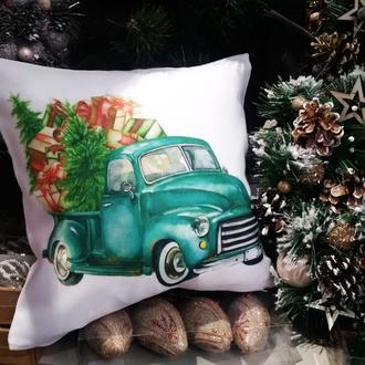 Новогодняя подушка, подушка олень Киев, подарок на новый год, подушка машина с елкой, подушка мышь