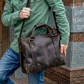 Коричневая кожаная сумка, Мужская сумка для документов