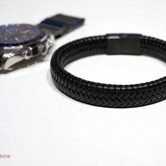 Мужской кожаный браслет с магнитной застежкой