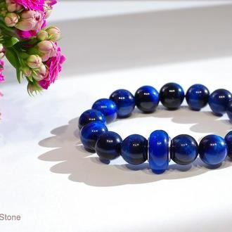 Синий браслет, натуральный камень тигровый глаз