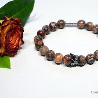 Мужской браслет, яшма натуральная 8мм, женский браслет