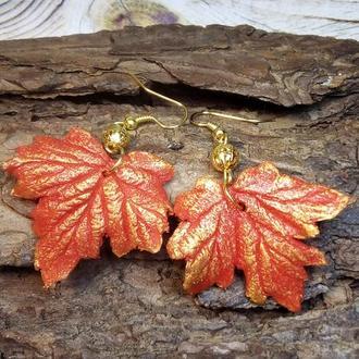 Серьги с кленовыми листьями, холодный фарфор