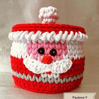 """Праздничная корзина с крышкой """"Дед Мороз"""" (Корзина)"""