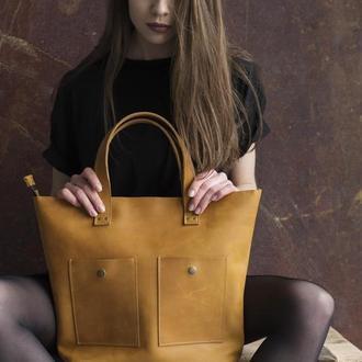 Жіноча жовта сумка з натуральної шкіри