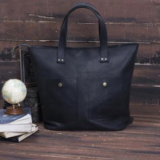 Черная женская сумка из натуральной кожи