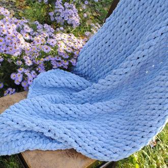 Детский вязаный плюшевый плед , теплый плед пуффи, одеялко для малыша конверт на выписку