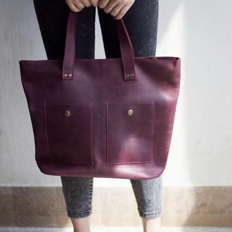 Женская бордовая сумка из натуральной кожи