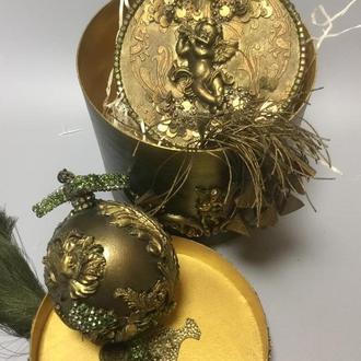 Набор  Новогодних шаров Золотые ангелы 2.
