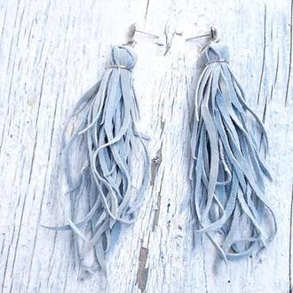 Длинные серьги кисти из натуральной кожи.