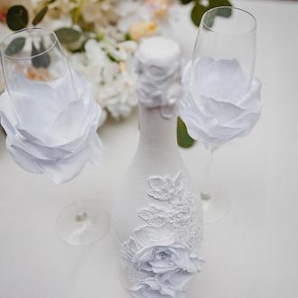 Свадебные бокалы Silk Flowers белые