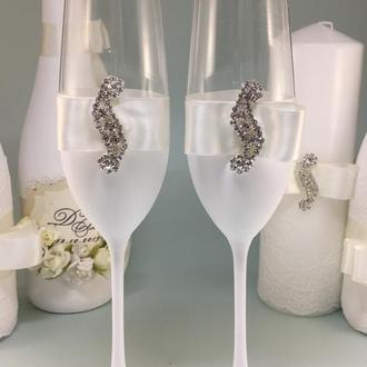 Бокалы на свадьбу Crystal Wedding белые