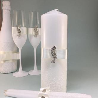 Свечи очаг на свадьбу Wedding Chic белые
