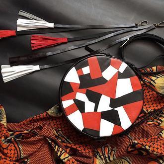 Круглая Черно - Красная Кожаная Сумка Графика Сумка На Выпускной Вечерняя Сумка