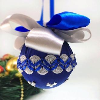 Новогодний шелковый шар Navy blue с серебряным декором