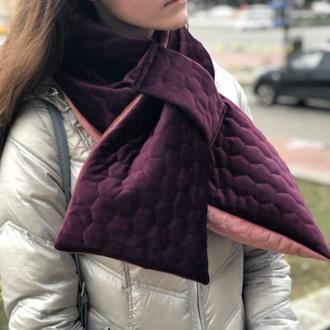 """Шарф стёганый- бархатный  """"Нью Йорк"""", унисекс шарф, большой женский шарф, подарок женщине"""