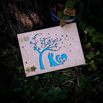Фото книга из дерева. Мінімалітичний фотоальбом - подарок на веілля, годовщину, день рождения