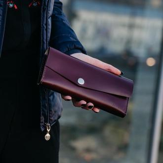 Женский кошелек- клатч. Большой кошелек из натуральной кожи