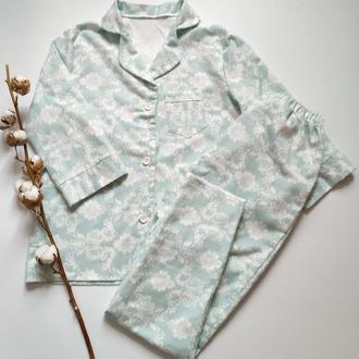 Теплая пижама из фланели с рубашкой