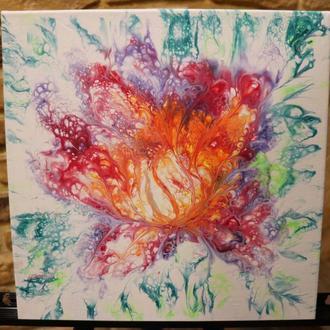 Волшебный Цветок. Акриловая заливка. Картины