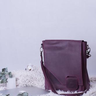 Кожаная сумка на скрытом магните бордовая