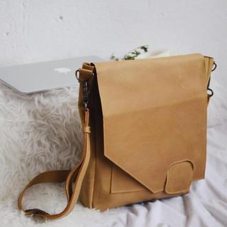 Кожаная сумка мужская на скрытом магните