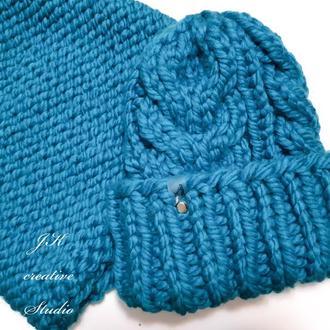 Комплект шапка и снуд из крупной шерстяной пряжи