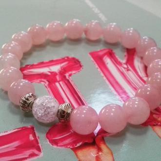 Браслет из розового и снежного кварца