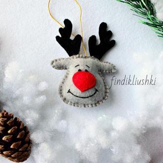 Новогодняя фетровая игрушка на ёлку
