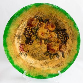 """Тарелка """"Цветы на золоте"""""""